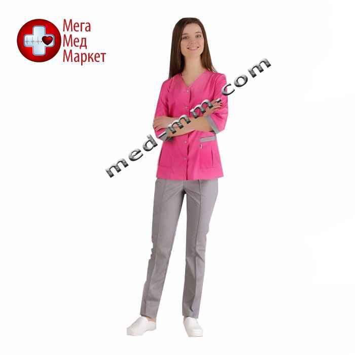 Медицинский костюм Сингапур женский комбинированный розовый/серый котоновый №1027