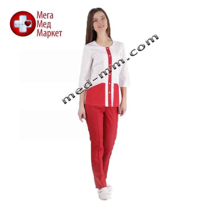 Медицинский костюм Милан белый/красный №1022