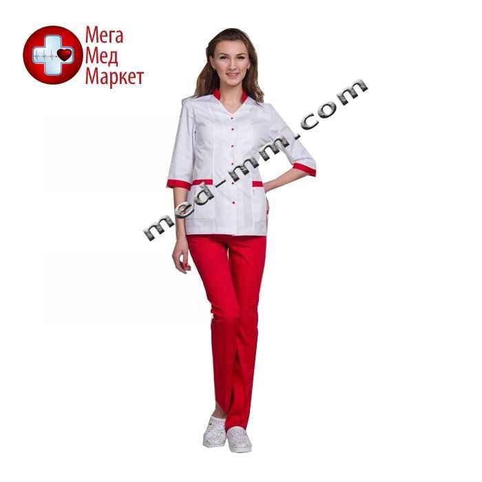 Медицинский костюм Сингапур женский комбинированный белый/красный котоновый №1010