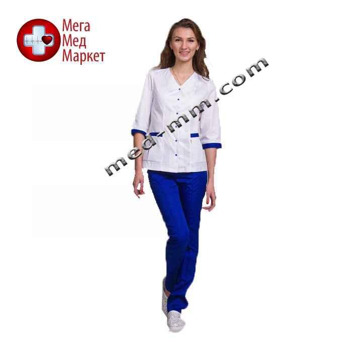 Медицинский костюм Сингапур женский комбинированный белый/синий котоновый №1013