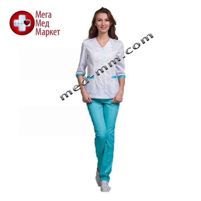 Медицинский костюм Сингапур женский комбинированный белый/мятный котоновый №1012