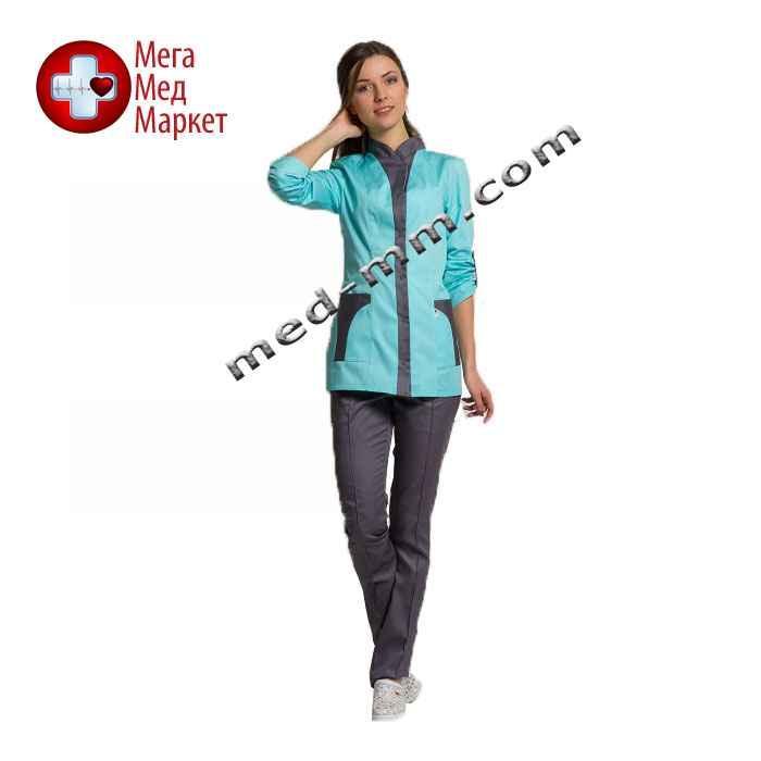 Медицинский костюм Женева женский комбинированный мятный/серый котоновый №1007