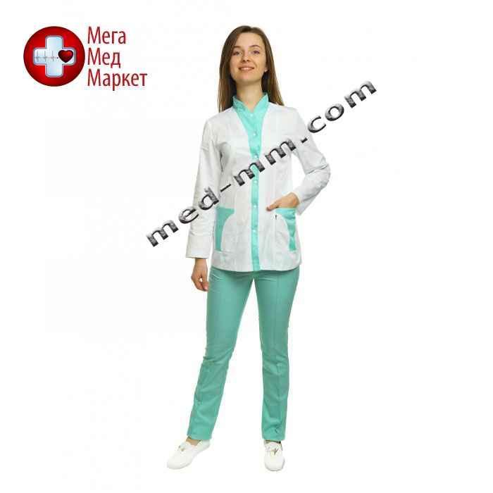 Медицинский костюм Женева женский комбинированный белый/мятный котоновый №1006