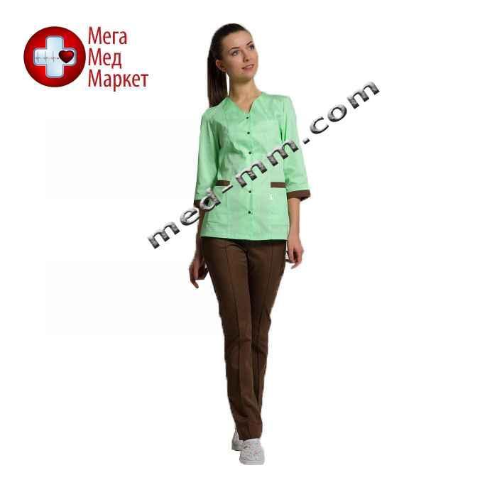 Медицинский костюм Сингапур женский комбинированный салатовый/коричневый котоновый №1004