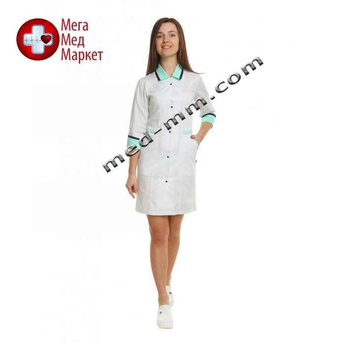 Медицинский халат женский Оксфорд белый/мятный №98