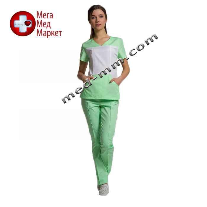 Медицинский костюм Сидней белый/салатовый №1001