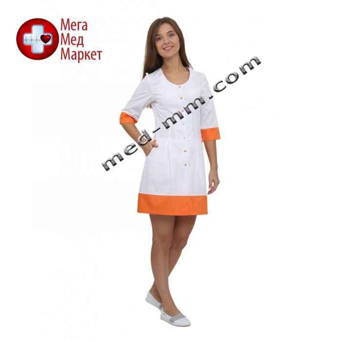 Медицинский халат женский Венеция белый/оранжевый №62