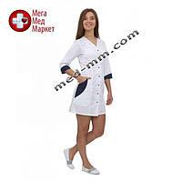 Медицинский халат женский Ибица белый/синий №68