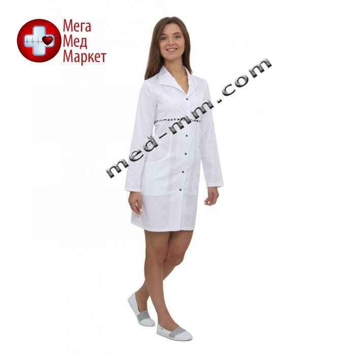 Медицинский халат женский Бостон белый/синий печворк №59