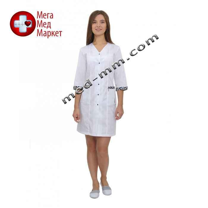 Медицинский халат женский Сингапур белый/принт №105
