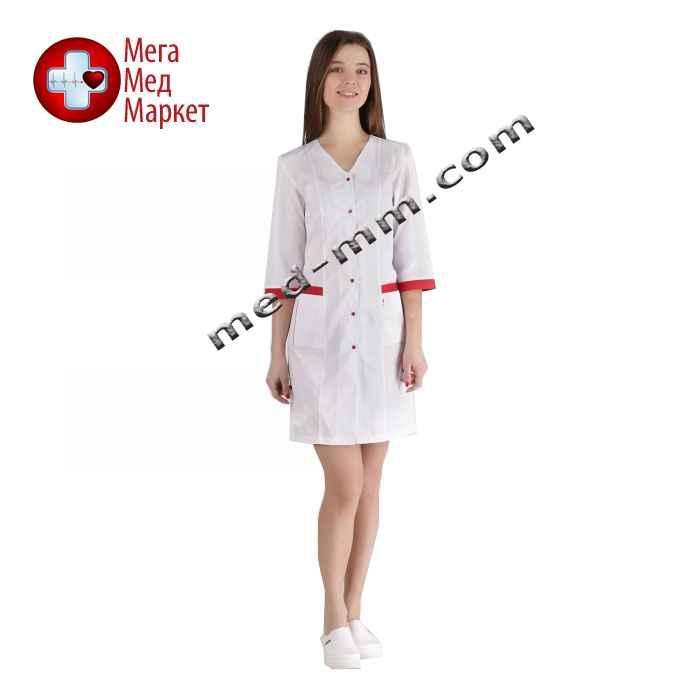 Медицинский халат женский Сингапур белый/красный №105