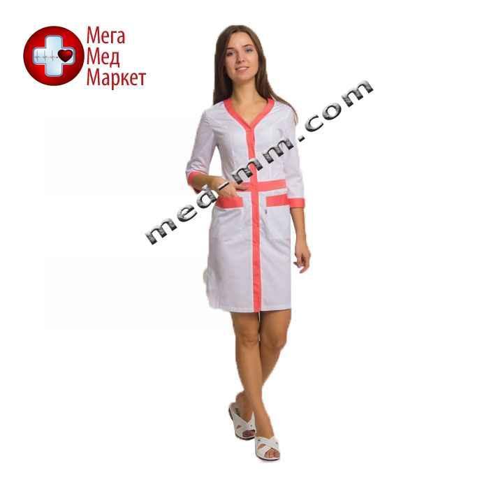 Медицинский халат женский Палермо белый/коралл №76