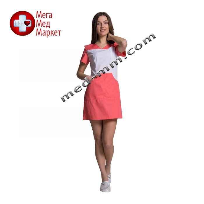 Медицинский халат женский Сидней белый/коралл №80
