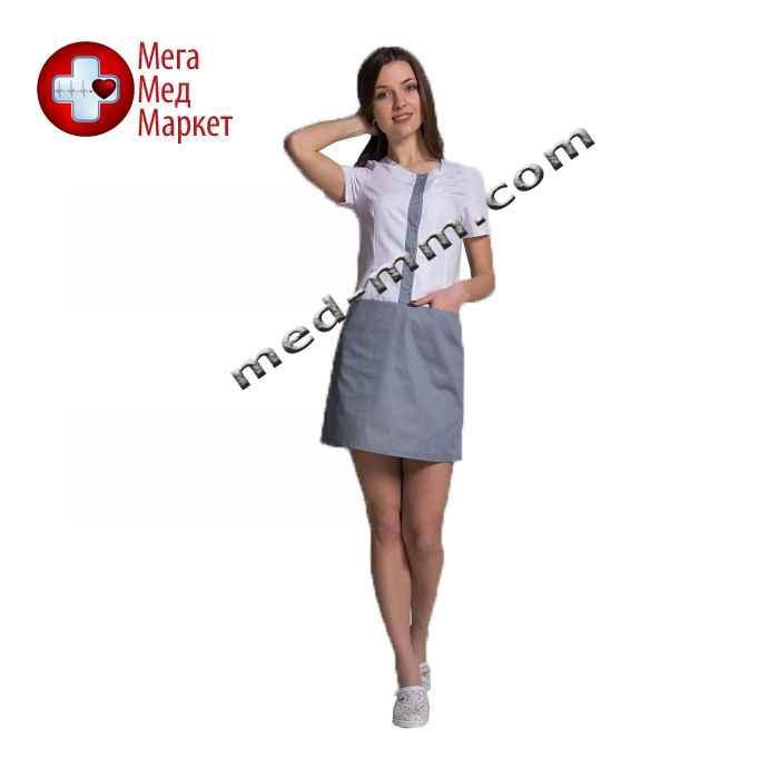 Медицинский халат женский Милан белый/серый №72