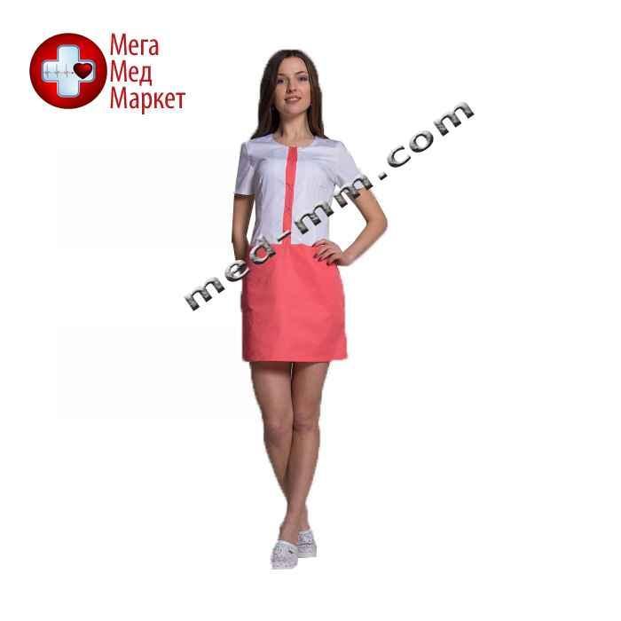 Медицинский халат женский Милан белый/коралл №70