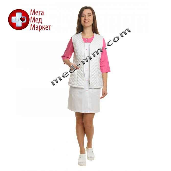 Медицинский жилет стеганый белый подкладка флис №1