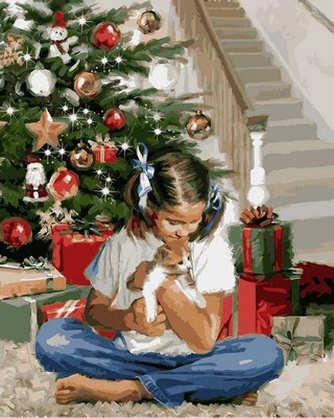 Раскраска по цифрам 40×50 см. Девочка с котенком Художник Ричард Макнейл