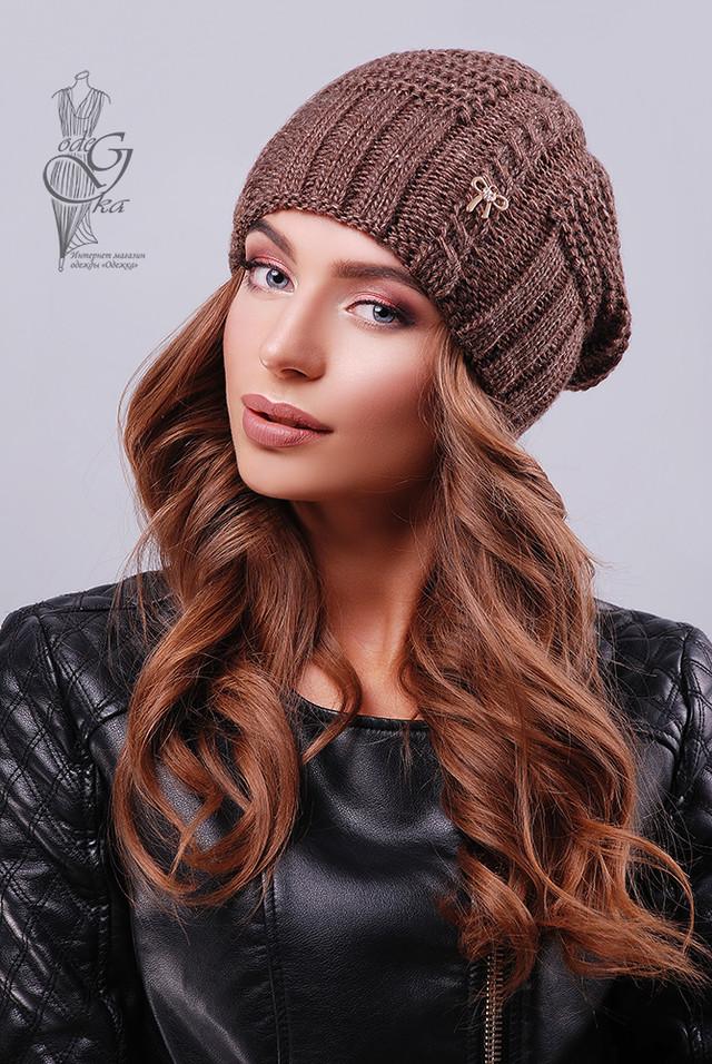 Цвет шоколад Вязаных женских шапок Снежка