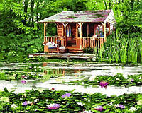 Картины по номерам 40×50 см. Домик у озера Художник Ричард Макнейл