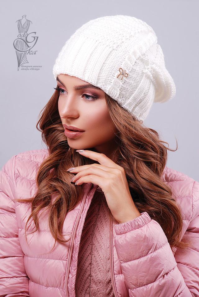 Цвет молоко Вязаных женских шапок Снежка