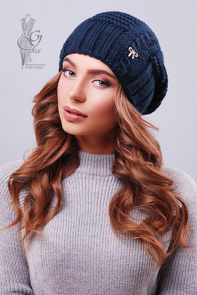 Синий цвет Вязаных женских шапок Снежка
