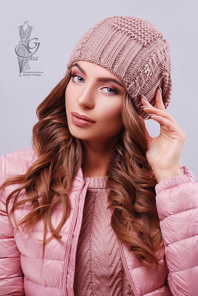 Цвет роза Вязаных женских шапок Снежка