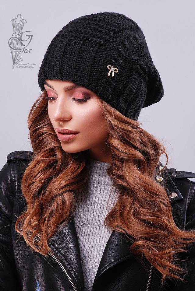 Черный цвет Вязаных женских шапок Снежка
