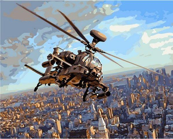 Картины по номерам 40×50 см. Ударный вертолёт АН 64 Апач