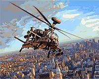 Картины по номерам 40×50 см. Ударный вертолёт АН 64 Апач, фото 1