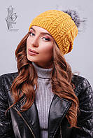 Вязаные женские шапки Бубон нить шерсть-акрил