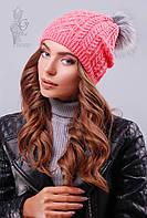 Вязаные женские шапки Бубон-2 нить шерсть-акрил