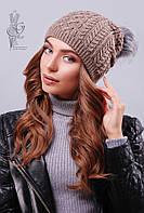 Вязаные женские шапки Бубон-3 нить шерсть-акрил