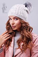 Вязаные женские шапки Бубон-4 нить шерсть-акрил