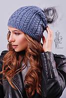 Вязаные женские шапки Бубон-5 нить шерсть-акрил