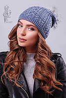 Вязаные женские шапки Бубон-6 нить шерсть-акрил