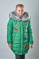 Детская зимняя куртка для девочки Зеленый Птички