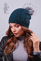 Вязаные женские шапки Бубон-7 нить шерсть-акрил