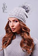 Вязаные женские шапки Бубон-8 нить шерсть-акрил