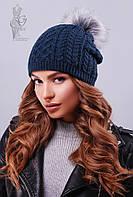Вязаные женские шапки Бубон-9 нить шерсть-акрил