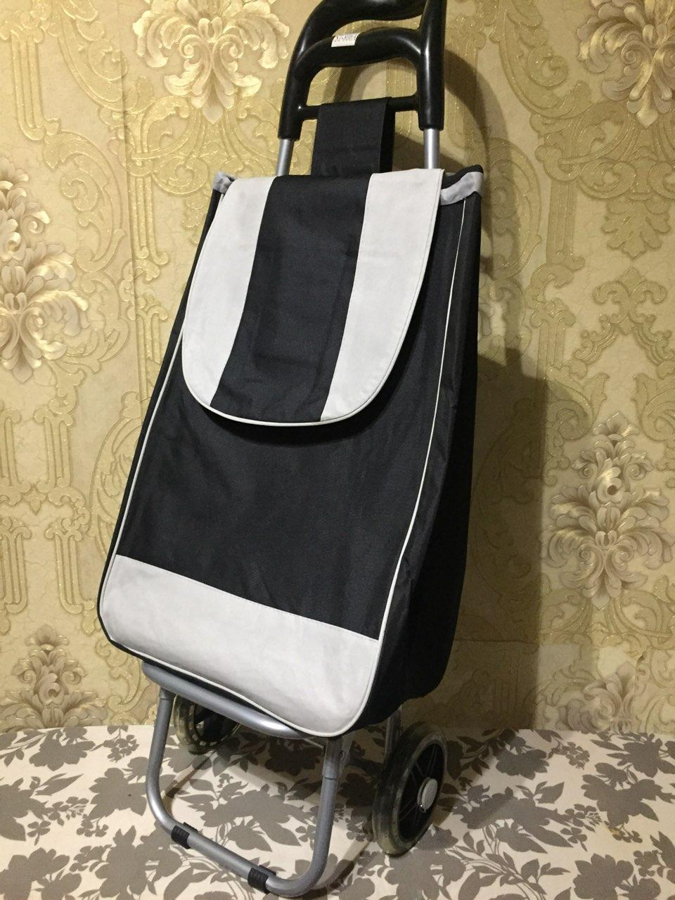 Тележка хозяйственная с сумкой на силиконовых колёсах