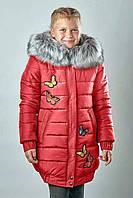 Детская зимняя куртка для девочки Красная