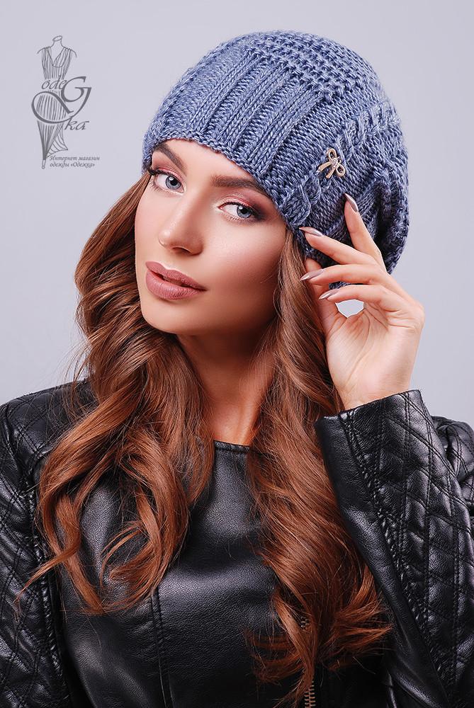 Вязаные женские шапки Снежка-4 нить шерсть-акрил