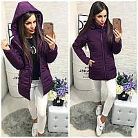 Тёплая женская длинная куртка пуховик Memory со съёмным капюшоном фиолетовая