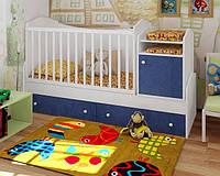"""Кроватка трансформер для для мальчиков """"Лайт"""" (голубой скай)"""