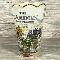 Декоративное кашпо (ваза)  металлическое ПРОВАНС 6926-10, высота 27см, верхний диаметр 17см