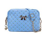 Маленькая, небольшая сумка через плече, голубая,с бантиком