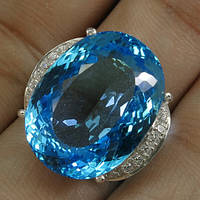 Кольцо серебро 925 пробы топаз 30 карат