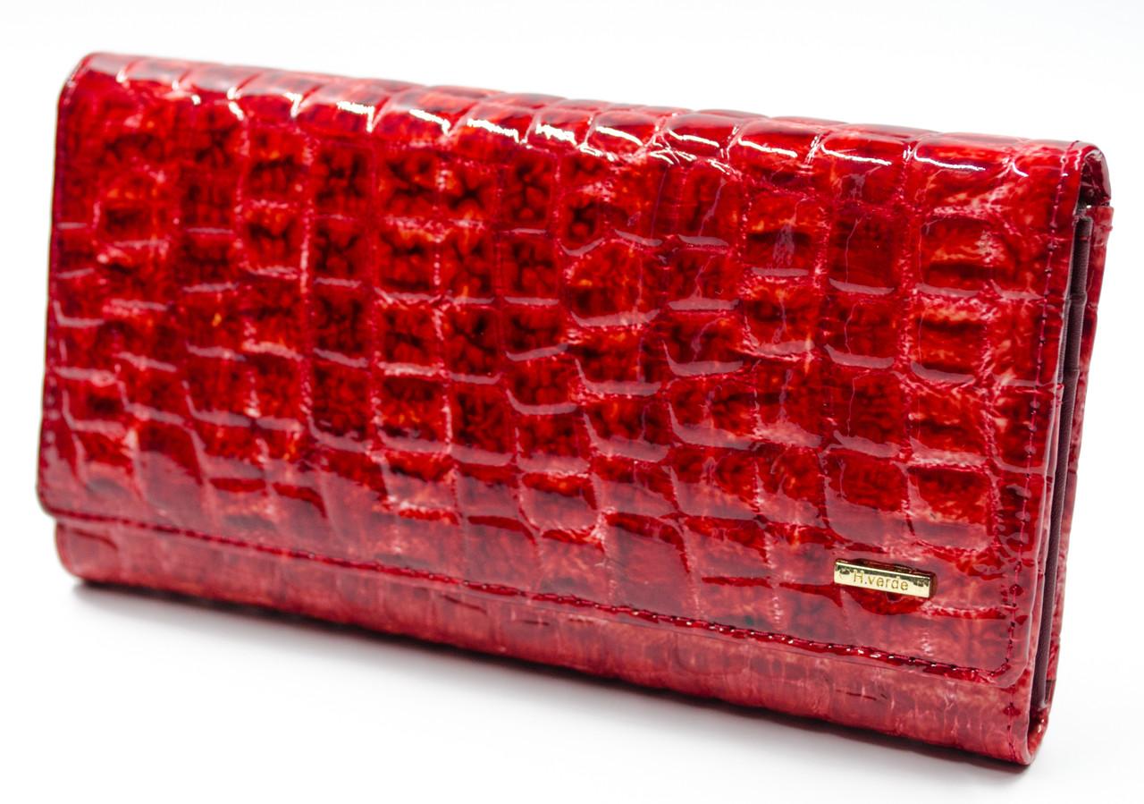 Оригинал! Фактурный лаковый женский кошелек в красном цвете Helen Verde (Хелен Верде) 2487R