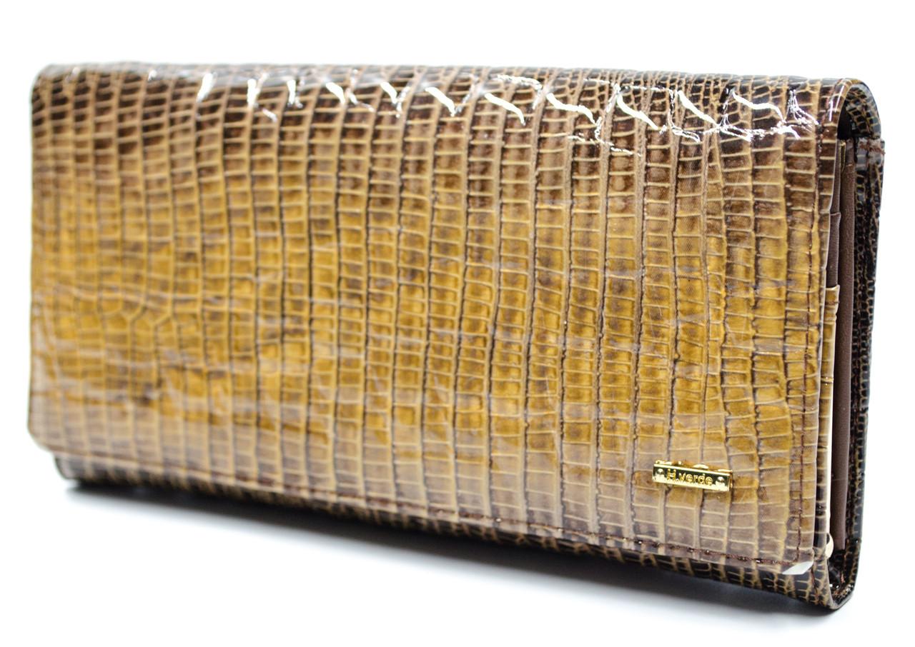 Оригинал! Фактурный лаковый женский кошелек в коричневом цвете Helen Verde (Хелен Верде) 2030