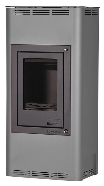 Отопительная печь-камин длительного горения AQUAFLAM 7 (водяной контур, полуавтомат, серый)